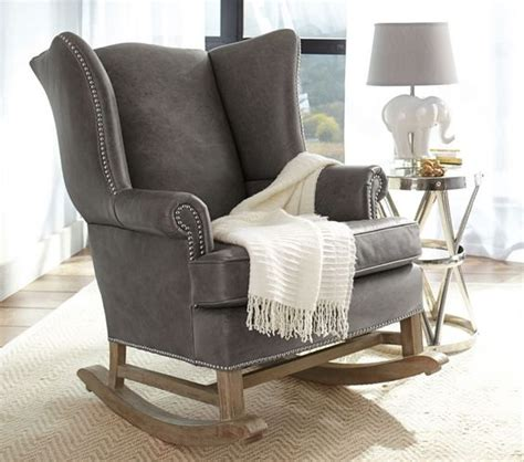 Leather Rocking Chairs For Nursery Thatcher Leather Rocker Ottoman Nesting Leather Ottomans And Rockers