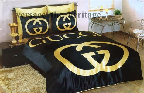 bedcover gucci gucci bedding set black gold satin sheet pillowcases