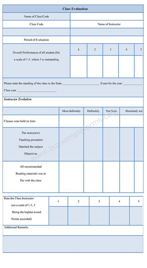 class evaluation form class evaluation template