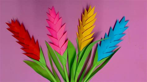 How To Make Colored Paper Flowers - how to make heliconia flower with color paper diy paper