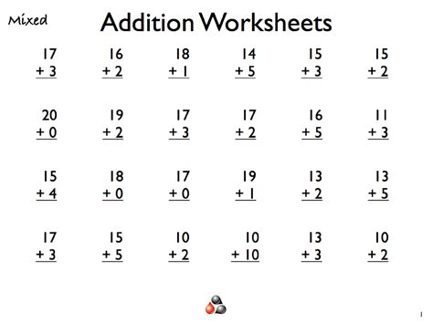 Free Math Worksheets For 1st Grade Addition by Addition For Worksheets For Grade 1 Is Helpful Educative