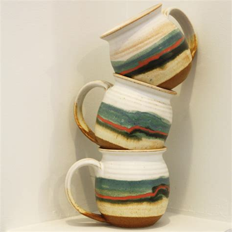 design sponge mug blue eagle pottery design sponge