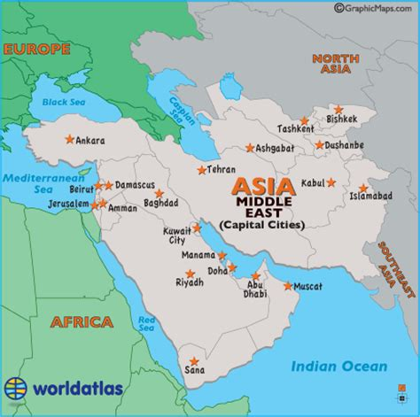 middle east city map middle east capital map