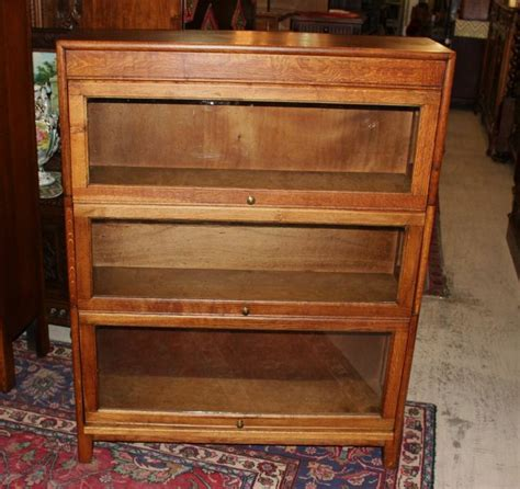 Antique Barrister Bookcases With Glass Doors antique oak 3 stack lawyer bookcase barrister glass door