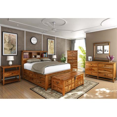 solid wood king size bedroom set mission modern solid wood king size platform bed 7pc