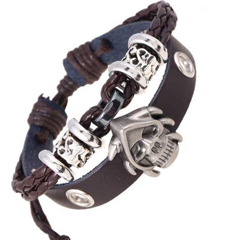 Diskon Promo Skeleton Leather Black Black Leather handmade weave braid rope wooden cuff armband bronze