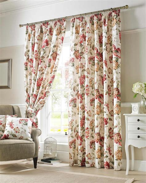 Ashley Wilde Cream & Red 'Carnaby' Chintz Floral Curtains Lined Pencil Pleat   Ashley Wilde