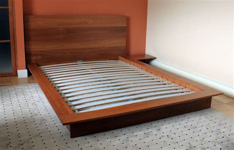 Custom Made Bed Frame Custom Platform Bed With Integrated Stand Solid Cherry By Dorch Design Studio