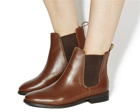 womens office bramble chelsea boots brown leather boots