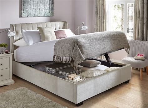 ottoman beds with mattress sana pearl fabric ottoman bed frame