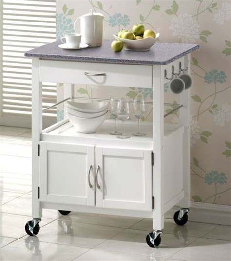 hardwood white painted with grainte top kitchen trolleys