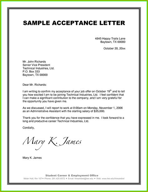 College Project Acceptance Letter Format From Company 11 Project Acceptance Letter Quote Templates