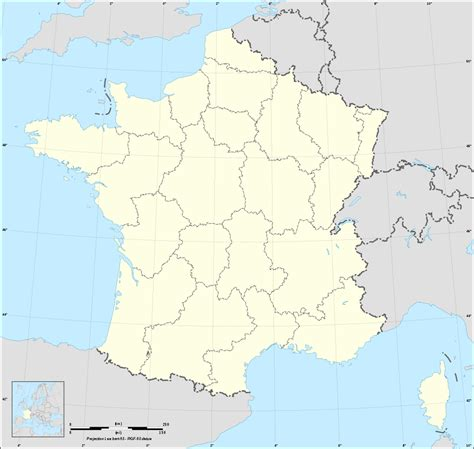 Carte de France vierge avec regions