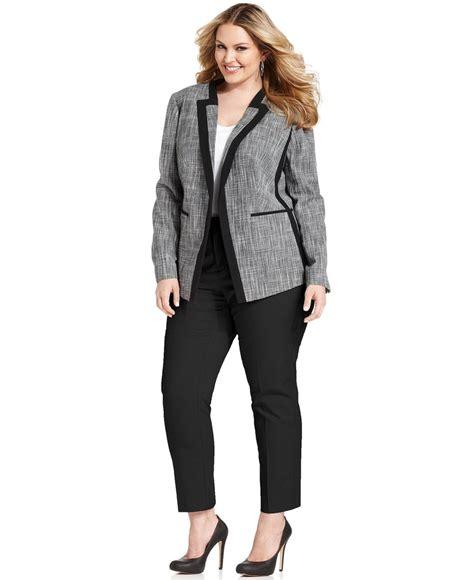 Blazer X8 Calvin Klein Plus Size Tweed Blazer Leg