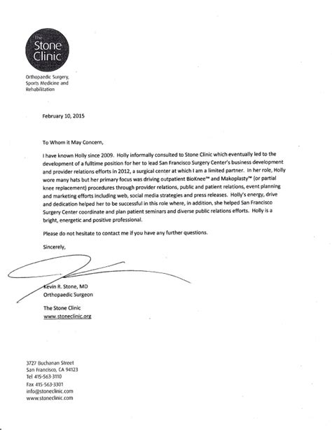 Of San Diego Mba Reference by Birkey Letter Of Recommendation From Dr Kevin Md