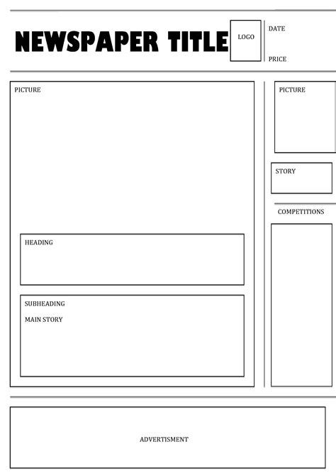free printable newspaper template for students best photos of printable newspaper templates for students