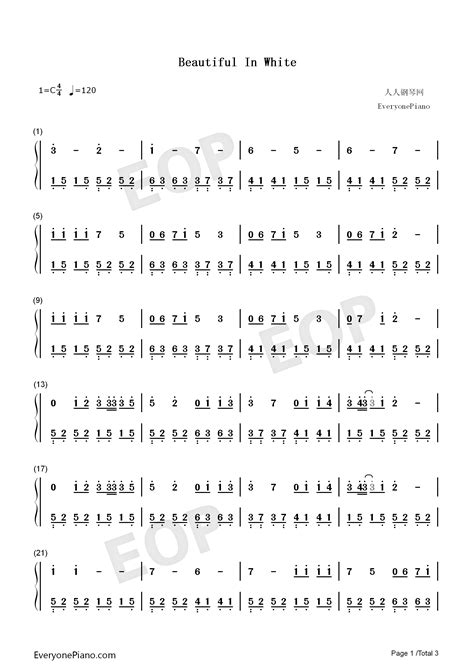 Beautiful in White-Westlife Numbered Musical Notation Preview