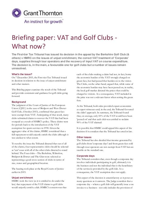 Decision Paper - briefing paper vat golf and other sports clubs what next