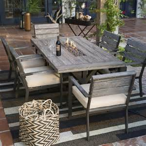 round patio dining table with fire pit image