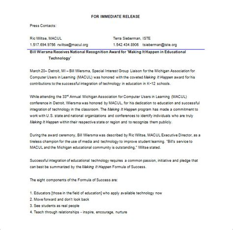 free press release template press release template 29 free word excel pdf format