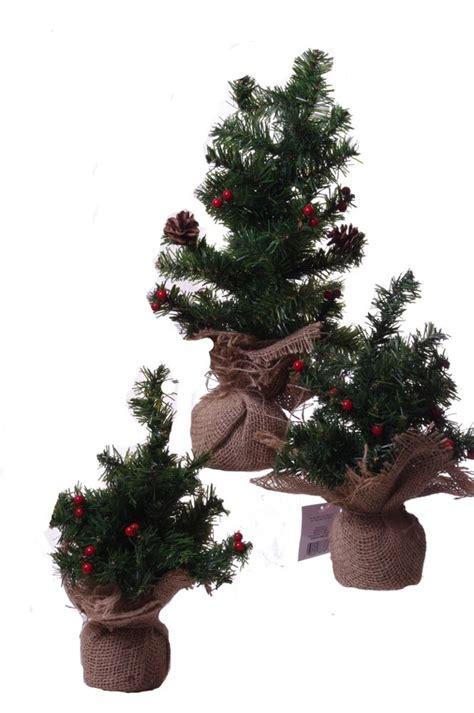 mini miniature pine christmas tree burlap farm country
