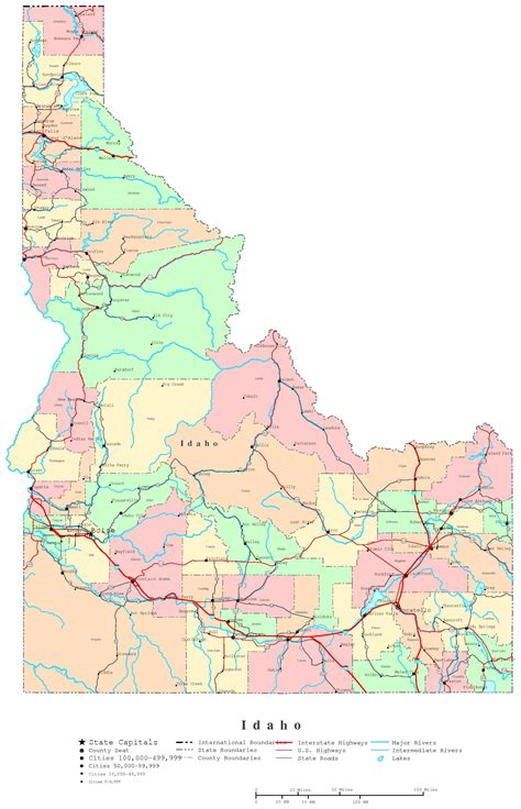 idaho map with cities idaho printable map