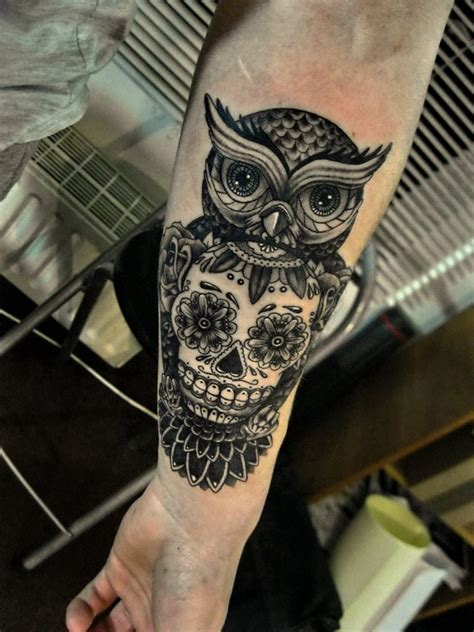 small sugar skull tattoos owl and sugar skull images tattoos