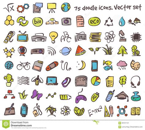 doodle icons free vectors vector doodle icons set stock vector illustration of
