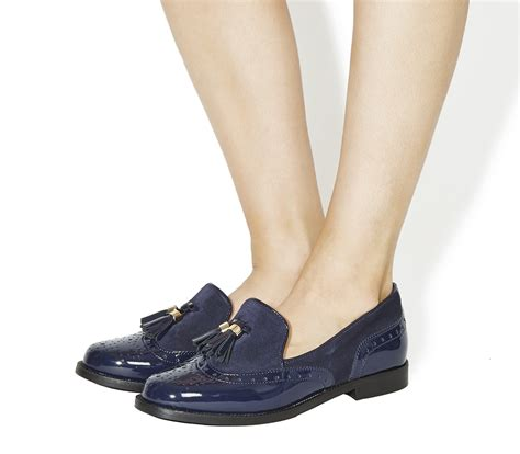 Maharani Loafer Flats Dir Co office ringo tassel loafers navy patent suede flats