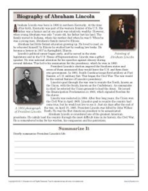 abraham lincoln biography conclusion 10 best reading comprehension images on pinterest cross