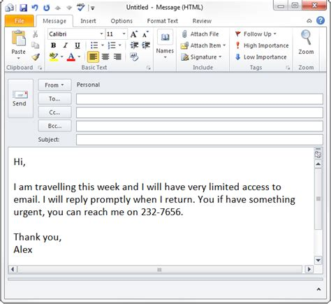 out of office email template out of office auto response in outlook without exchange