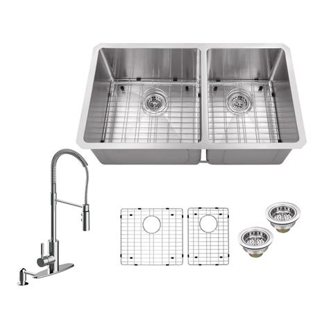 newage products stainless steel classic 32 in sink all in one undermount stainless steel 32 in 60 40 double