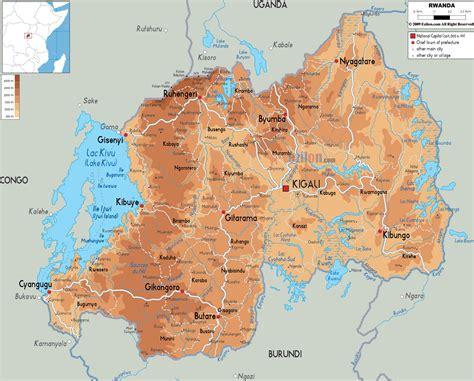 rwanda map physical map of rwanda ezilon maps