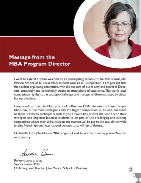 An Mba Program Director Wishes To Predict The Gpa by Molson Mba Competition Guide For Schools