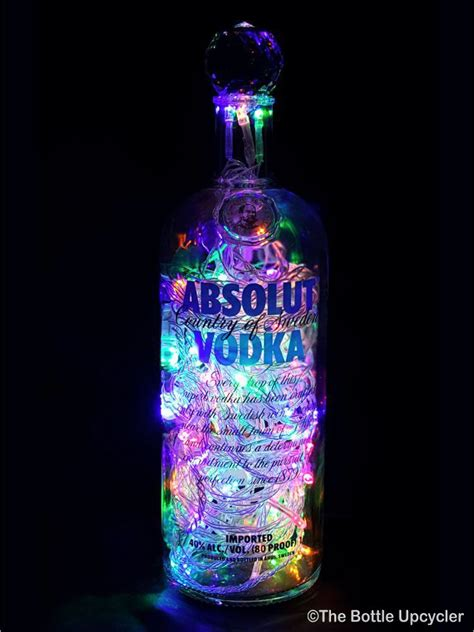 light with vodka absolut 174 vodka liquor bottle light the bottle upcycler