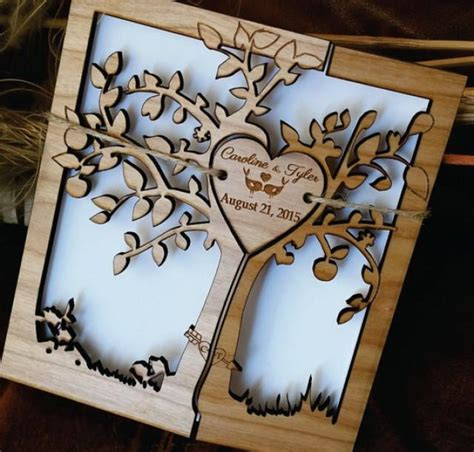 Custom Handmade Wedding Invitations - tree of wedding invitation wood wedding invitation