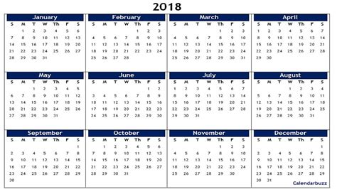 printable a5 year at a glance calendar for 2017 and 2018 each year