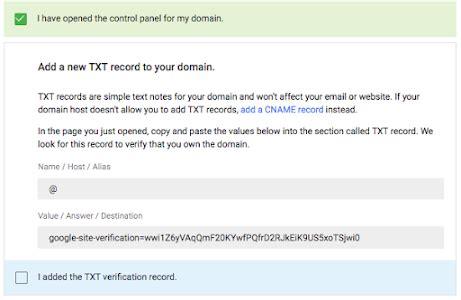 verify  domain   txt record  suite admin