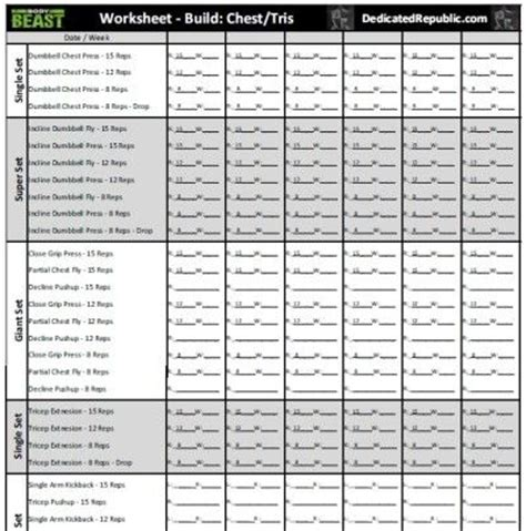 workout sheet beast chest workout sheet eoua