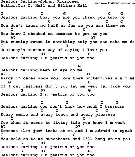 printable jealous lyrics country music jealous darling johnny rodriguez lyrics and