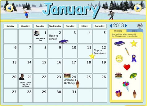 type in calendar template you can now customize the calendars on abcmouse you
