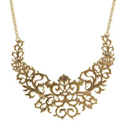 Kalung Korea Choker Decorated Hollow Out Design retro bronze flower decorated hollow out design alloy bib necklaces asujewelry