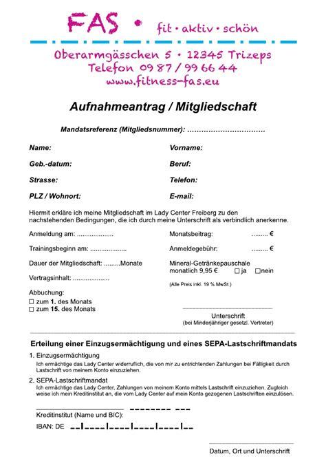 Vorlage Kündigung Arbeitsvertrag Zum 15 Aufnahmeantrag Fitnessstudio Muster Durchschreibsatz