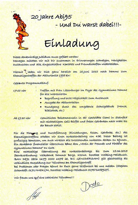 Muster Einladung Treffen Ehemalige Gymnasium Damme