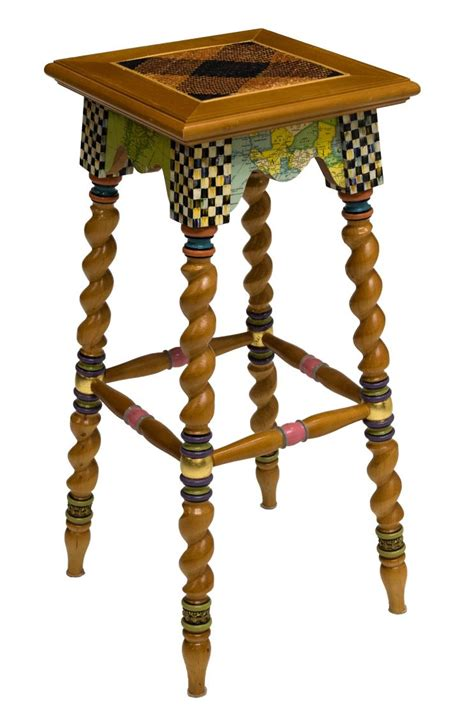 Stool Checker by Mackenzie Childs Painted Courtly Check Stool February