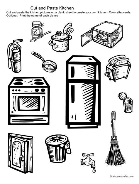 cut and paste kitchen items http www kidscanhavefun