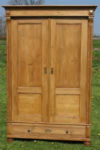 a antique german solid pine armoire wardrobe