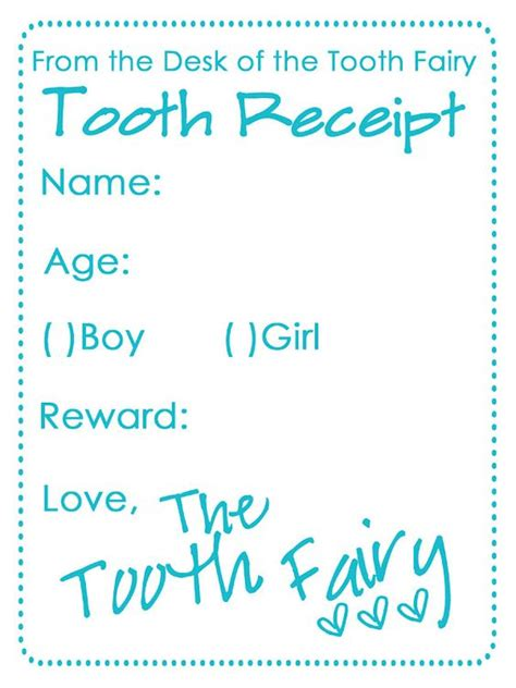 tooth receipt template editable tooth receipt free printable gift ideas for my