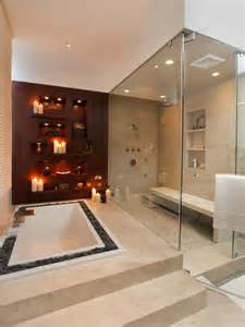 Spa Bath And Shower Decorate With Candles In Every Room