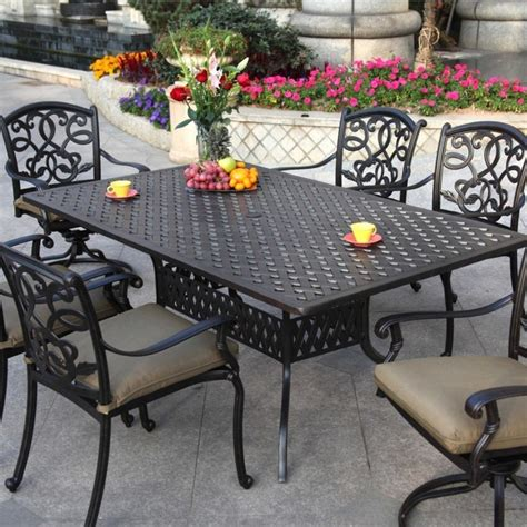 Darlee Santa Monica 6 Person Cast Aluminum Patio Dining Patio Dining Sets For 6